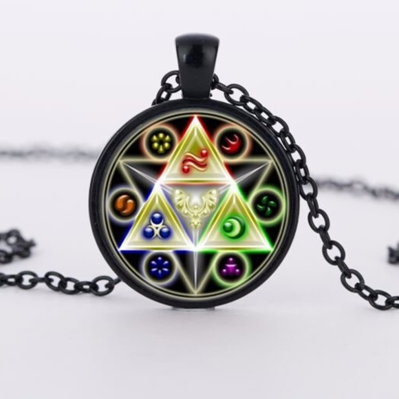 70760ef9de5da Legend of Zelda Triforce Glass Cabochon Necklace Boutique
